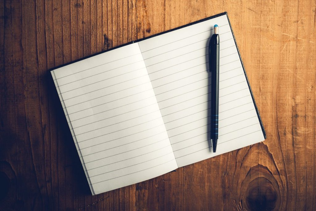 writing skills - notebook and pen